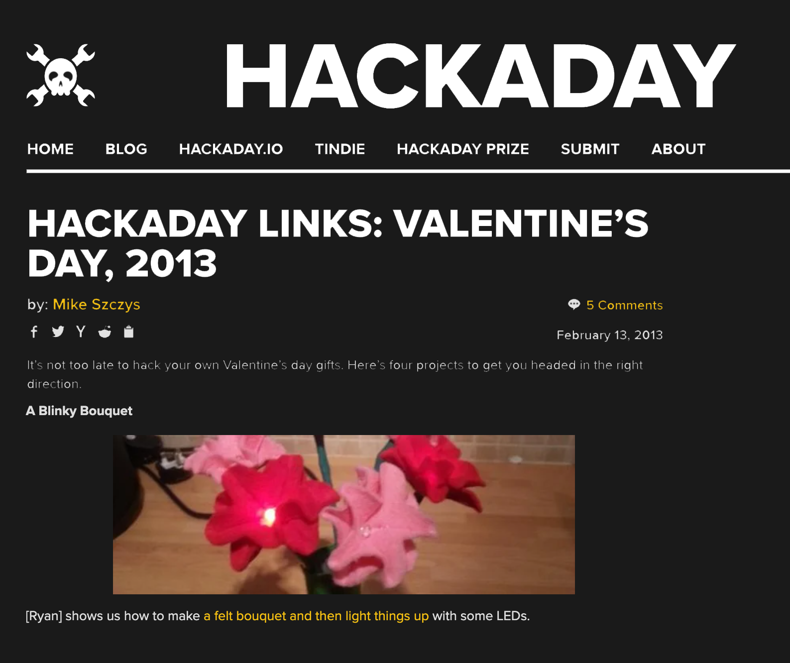 Valentines Day – A Blinky Bouquet